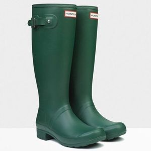 Hunter Green Rubber Rain Boots